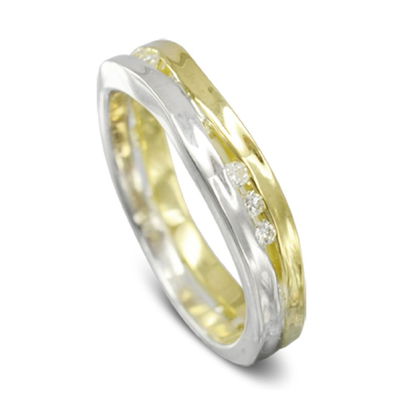 A Two Colour Trap Ring in yellow gold and silver set with twelve 1.5mm round diamonds
