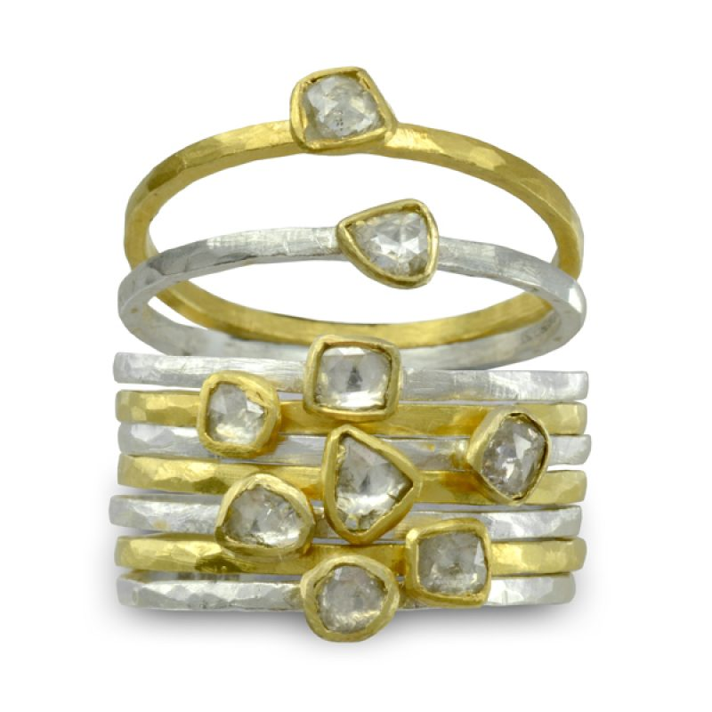 Handmade rough diamond stacking rings in silver and 18ct gold