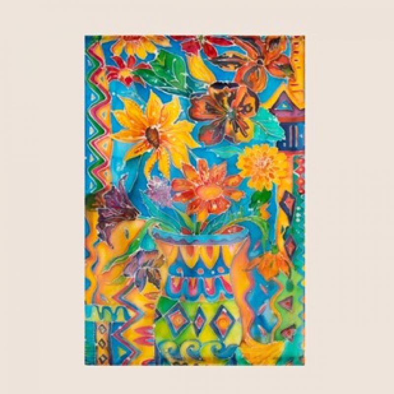Silk Batik Wall Hanging of flowers