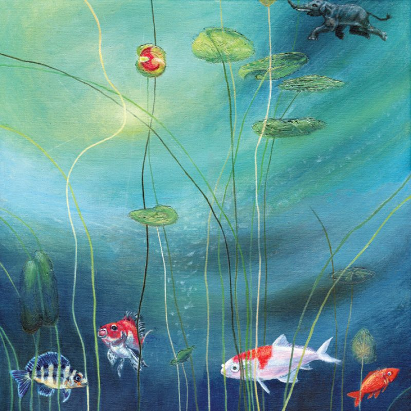 This light, humourous, underwater fish and elephant painting is a playful reminder that surprises are always a part of life. Welcome the fresh inspiration that the best of them bring and you will never be disappointed! Originally painted in acrylic on canvas, this giclee print is printed using archival inks on archival paper.