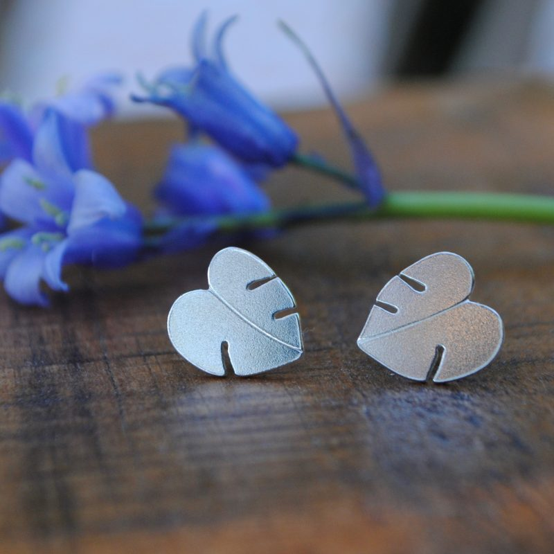 Some little silver cheese plant leaf studs are placed on a piece of wood. There is a bunch of bluebells in the background.