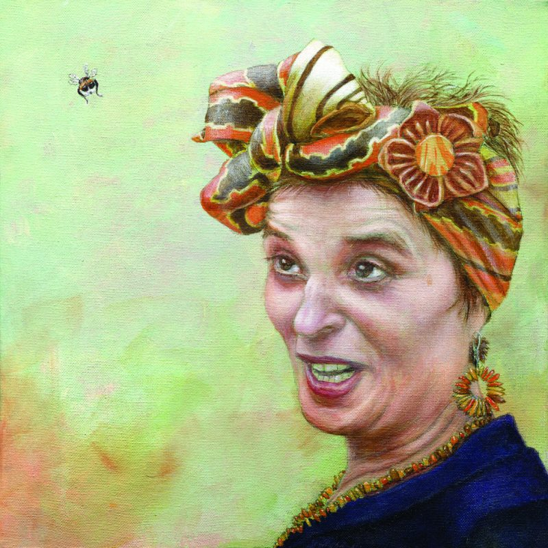 A portrait painting of joy with a bee