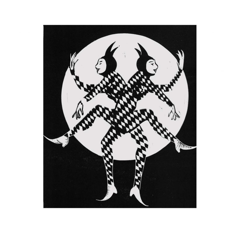 A4 black and white lino print image depicting two harlequin clad figures in chequered suits, standing back to back in a mirrored dancing pose, before a full moon.