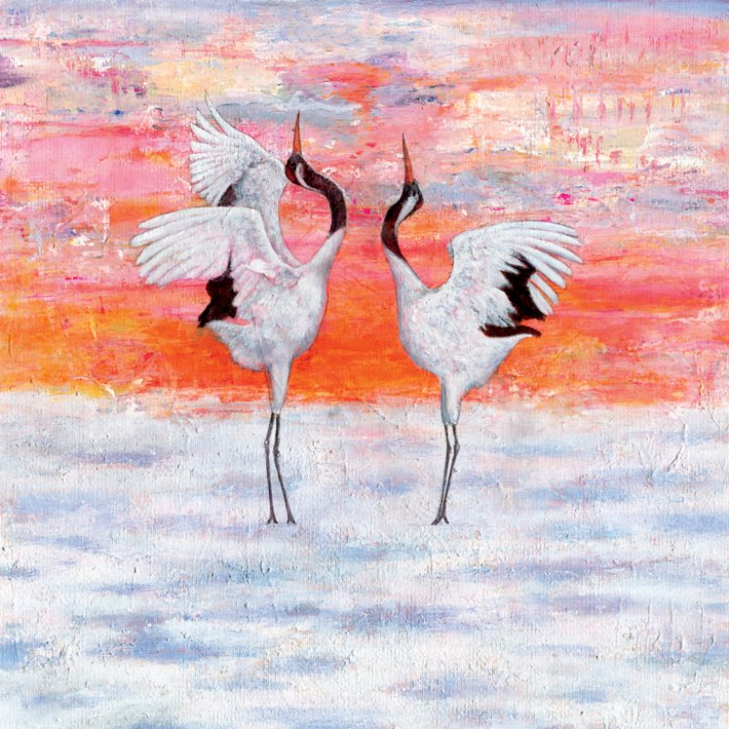 Japanese cranes expressing the joy of love
