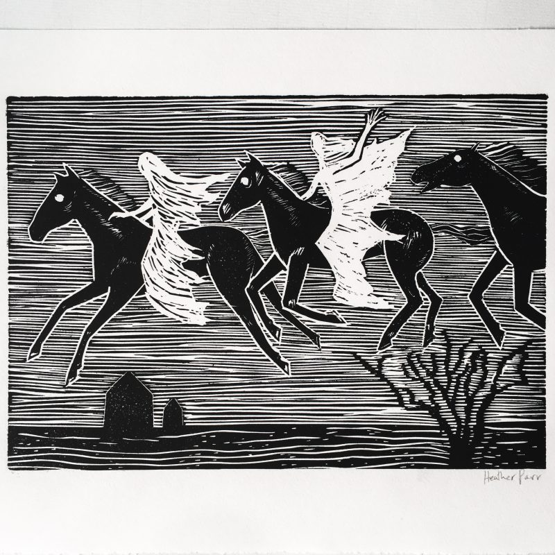 A linocut print based on the spectral hunt which appears in folk myths across northern Europe and Britain. Ghostly shrouded figures ride across the sky on white-eyed horses.