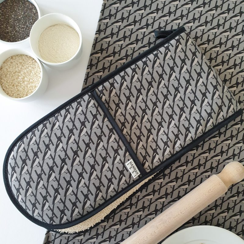 Hannah Issi Grey Magpie Oven Gloves and Tea Towel
