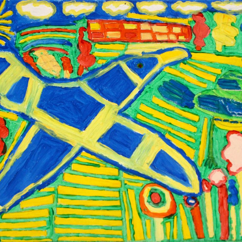 bold painting of diagonal flying seagull in primary colours, blue, yellow, red and green