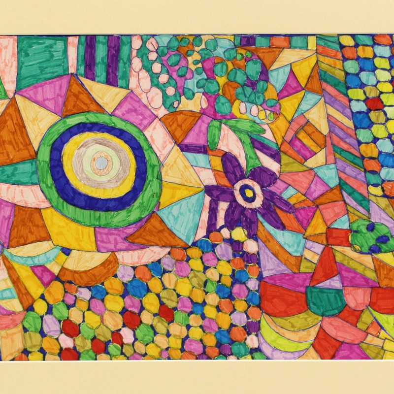 brightly coloured abstact design with closely spacesd with some flower, circle, triangle shapes