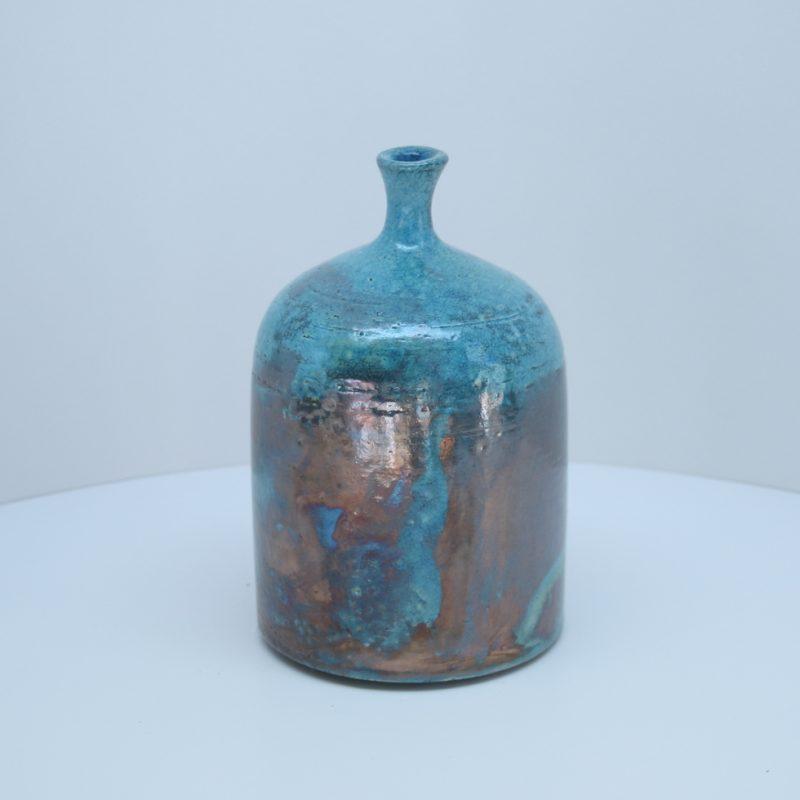 A raku bottle