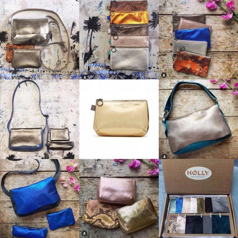 Metallic leather handbags and purses