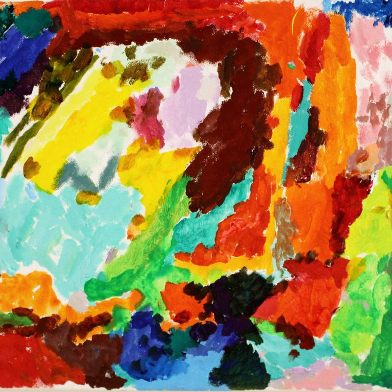 abstract painting with bold brushstrokes in warm oranges and cool greens and blues