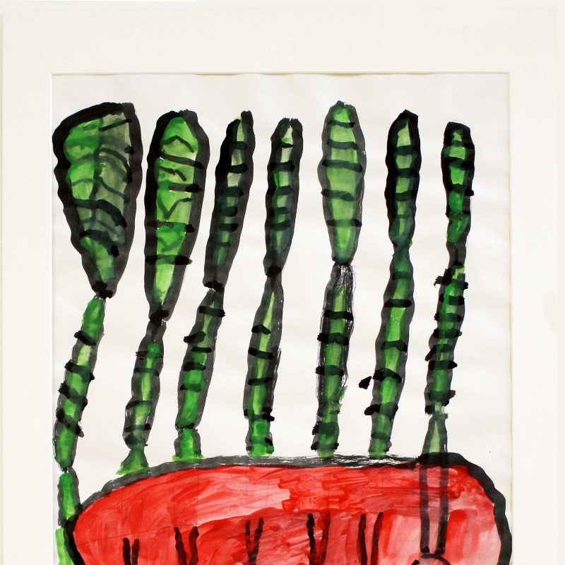 watercolour painting of 7 upright green plants in a red pot with black outline