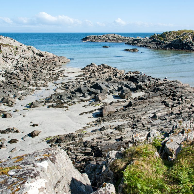Shoreline scene. Bright calm day where sky meets sea and sea meets river. Uisken, Mull. Peace and tranquillity.