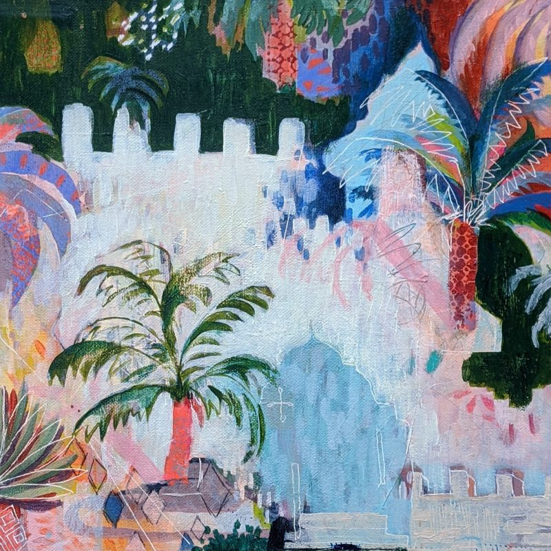 Fantastical abstract landscape capturing a Moorish city. Vibrant colours, domes, turrets and palms all appear in this magical image.