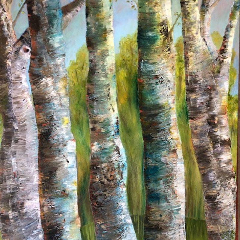 Painted on all sides as well as the main view. A close up of five Silver Birch Trees exploring the vibrant colours of the bark...blue, reds, greens, greys and silvers. Behind the tree trunks are soft moving green trees and blue sky.