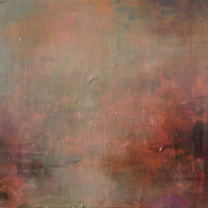 Pinky drippy atmospheric abstract oil painting
