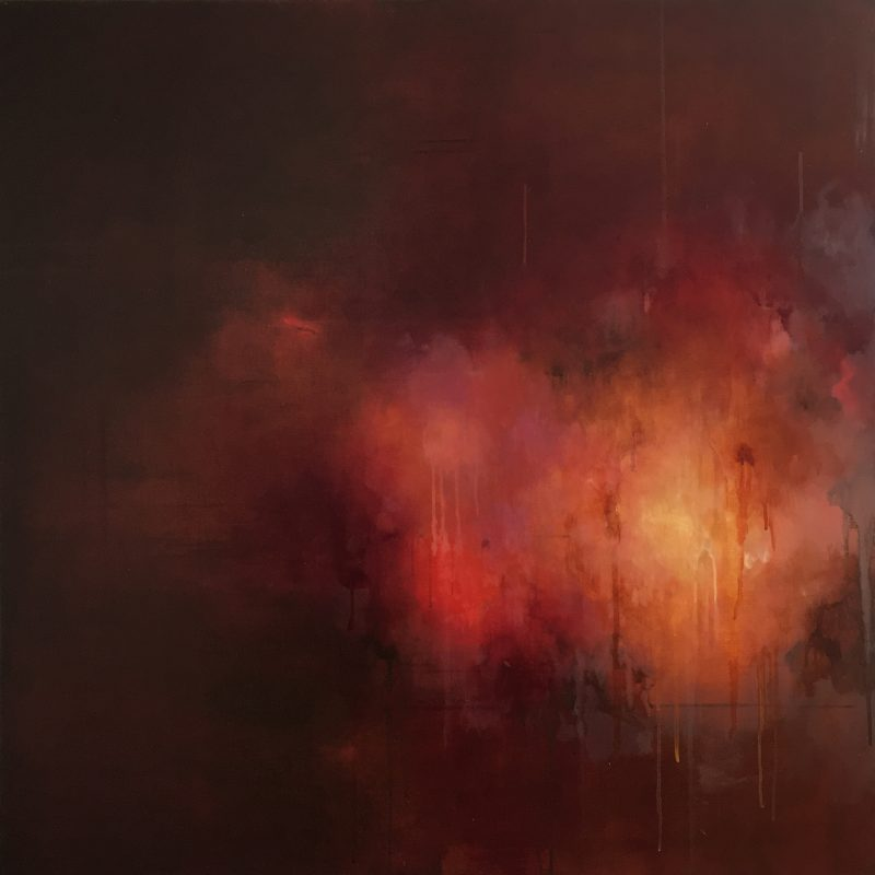Dark red and brown and gold atmospheric oil painting