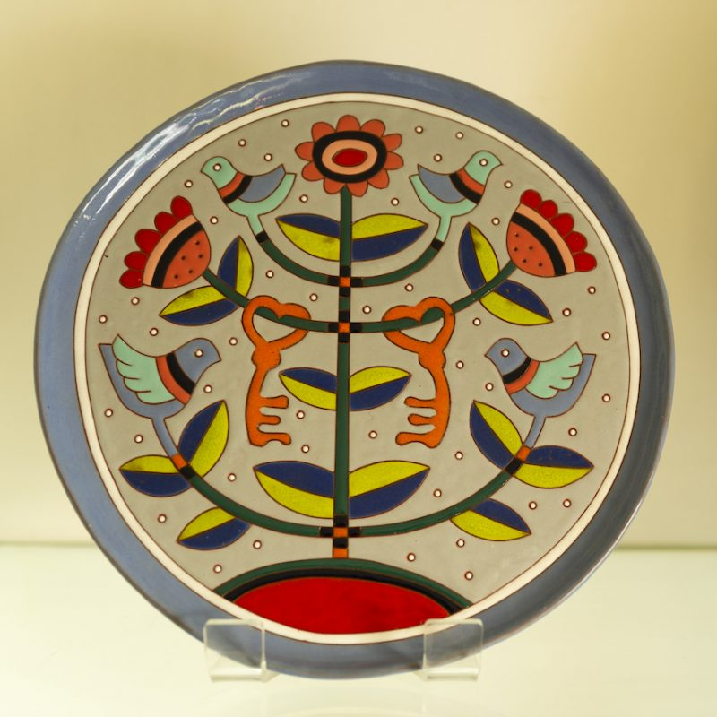 Colourful glazed earthenware plate with intricate patterns