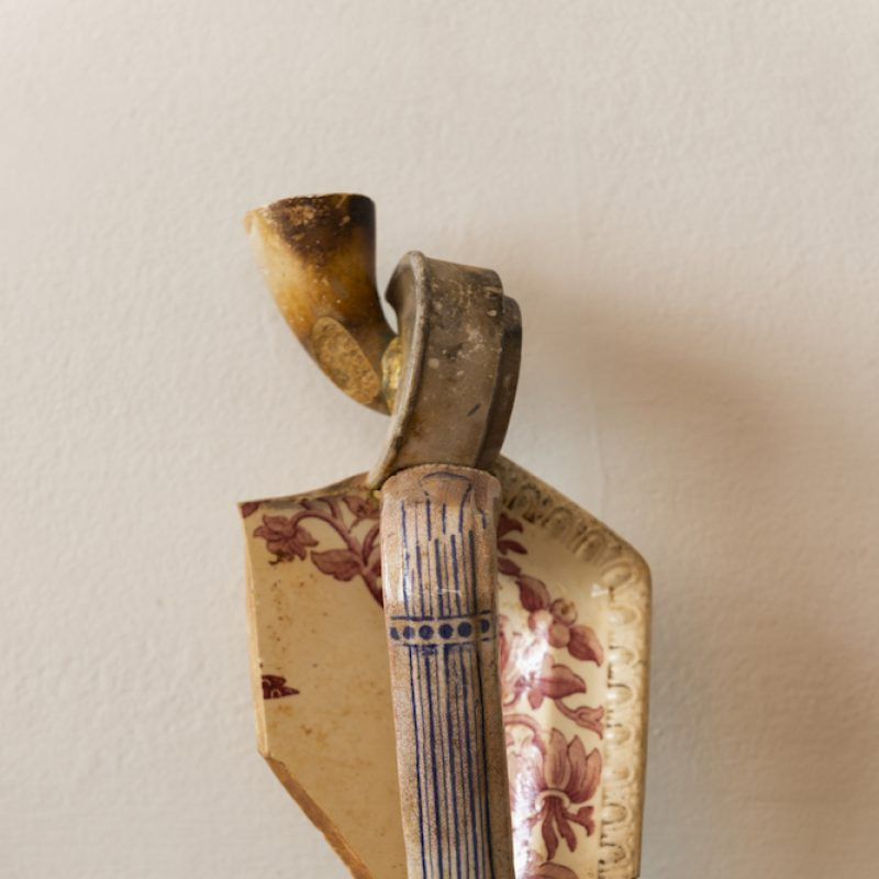 Candlestick made from found objects from beach combing the Thames estuary