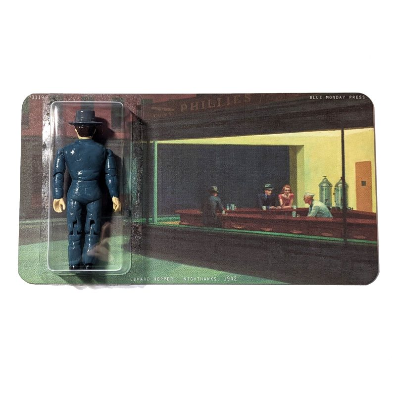 A Toy figure in blisterpack of Nighthawks character, Edward Hopper painting