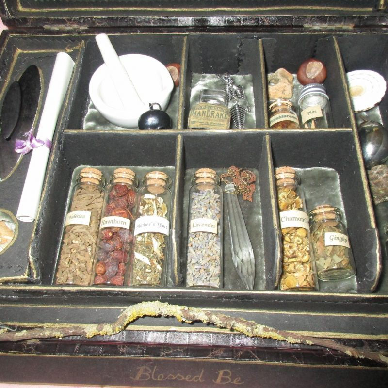 box of potions and articles a witch would want to take on flight -  Our vintage and antique boxes are a luxury treat for you or your friend that has a taste for things containing old world charm, magic and mystery.  They are full of herb supplies for you to learn about our traditional earth medicine alongside enchanting antique and vintage artificacts and tools that are practical but also prevoke a sense of mystery and wonder.  All our boxes are intuitively put together making each one unique and personal.