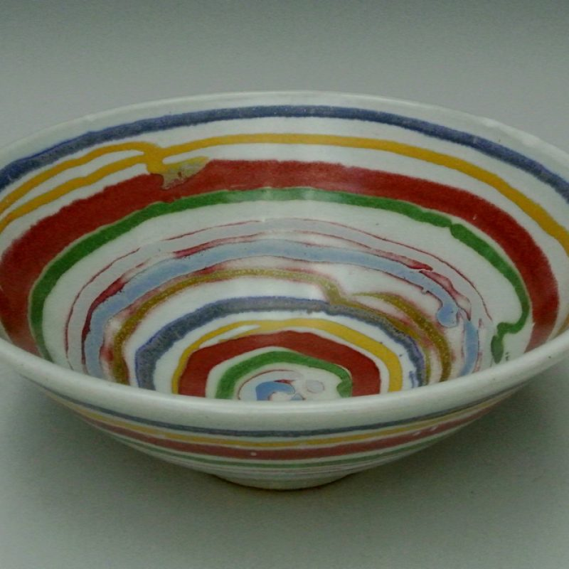 Bowl with colourful stripes