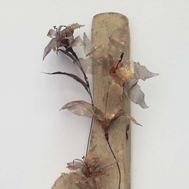 Wirework Copper & Annealed Steel Flowers on Driftwood