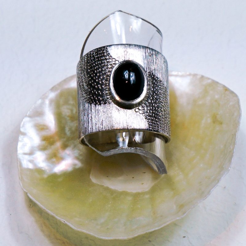 Unique engraved siver ring with black stone