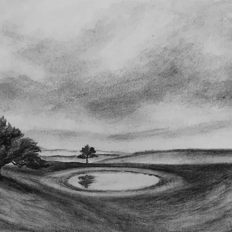 Charcoal drawing of dew pond