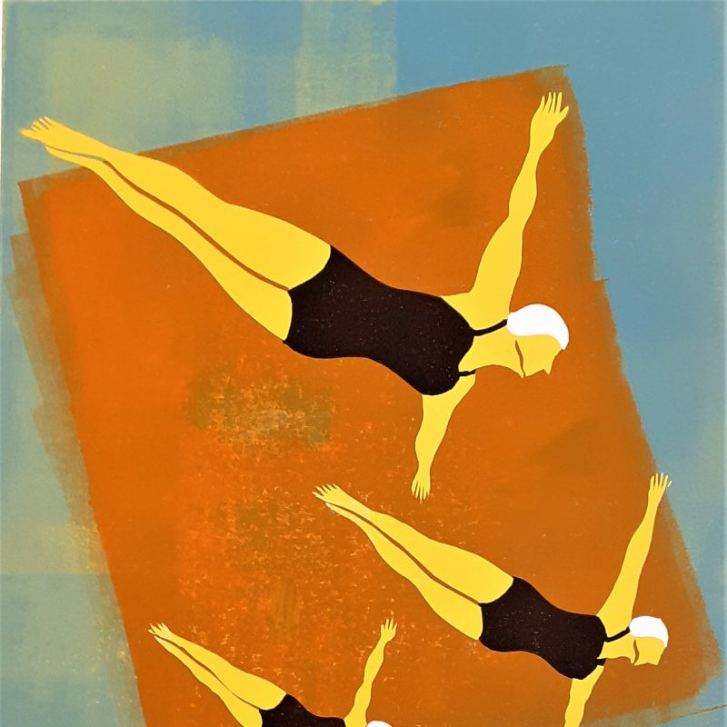 Four colour Lino reduction print. Three female divers in black costumes  and white bathing caps  are synchronised  diving .  The piece is commemorating  an event at  Long Eaton Outdoor Baths in 1935.  The divers are printed  on an orange background  with a subtle blue/green  surround created from layered inks. Yellow dabbles through the image.