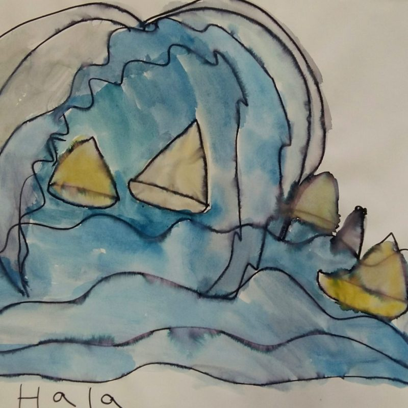 Expressive watercolour painting of a big wave in blue with yellow sailing boatswith black outline