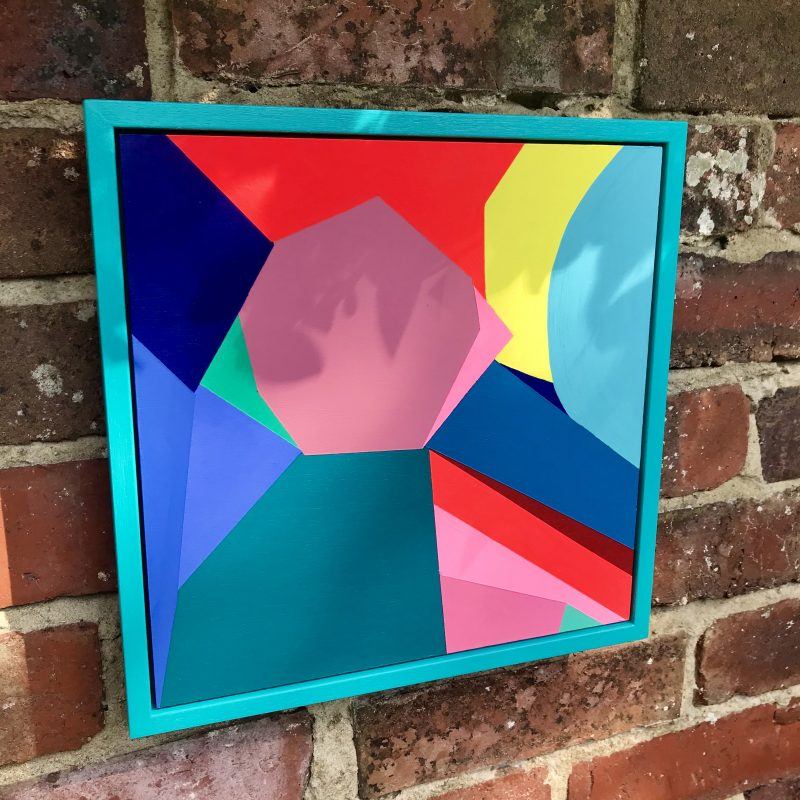 Abstract painting of contrasting shapes and colours