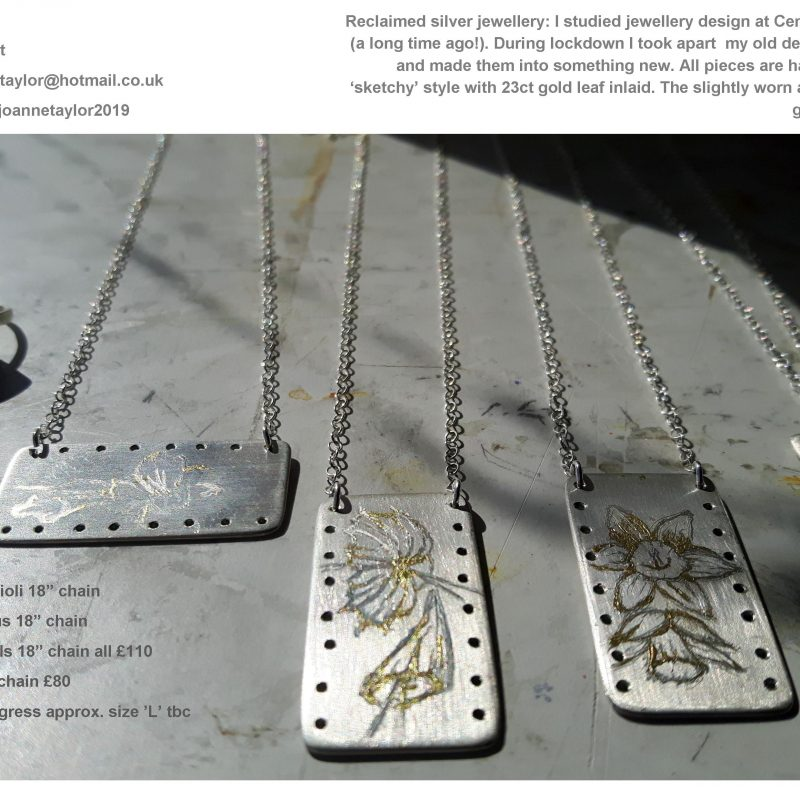 Silver pendants with hand engraved sketches of flowers and 'worn' gold leaf