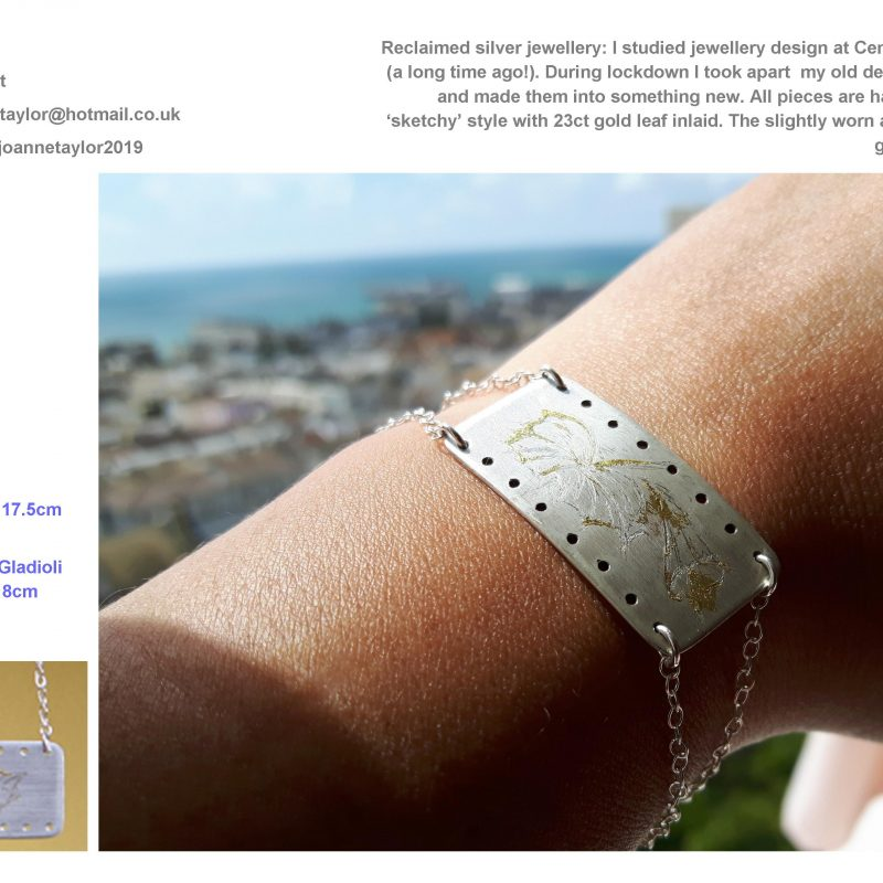 Silver bracelet with hand engraved sketches of flowers and 'worn' gold leaf