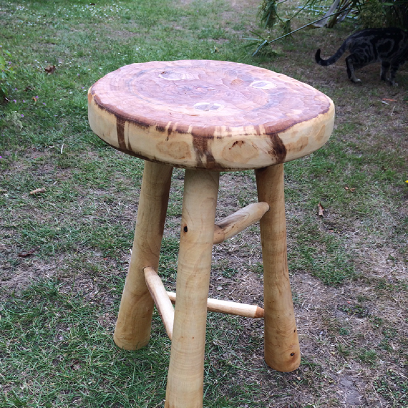 Hand Crafted Green Elm 3 Legged Stool
