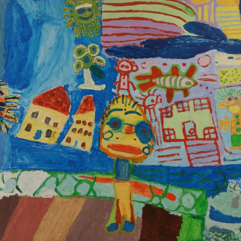 brighton painting with people and houses