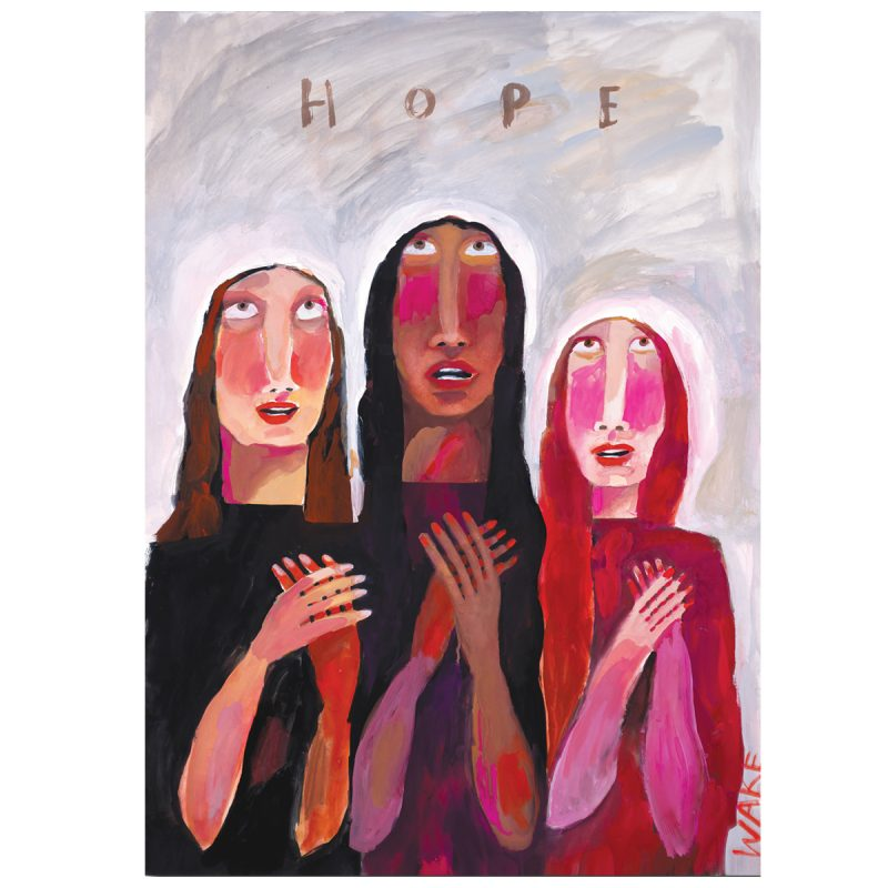 A gouache painting of three women holding their hands to their hearts in hope