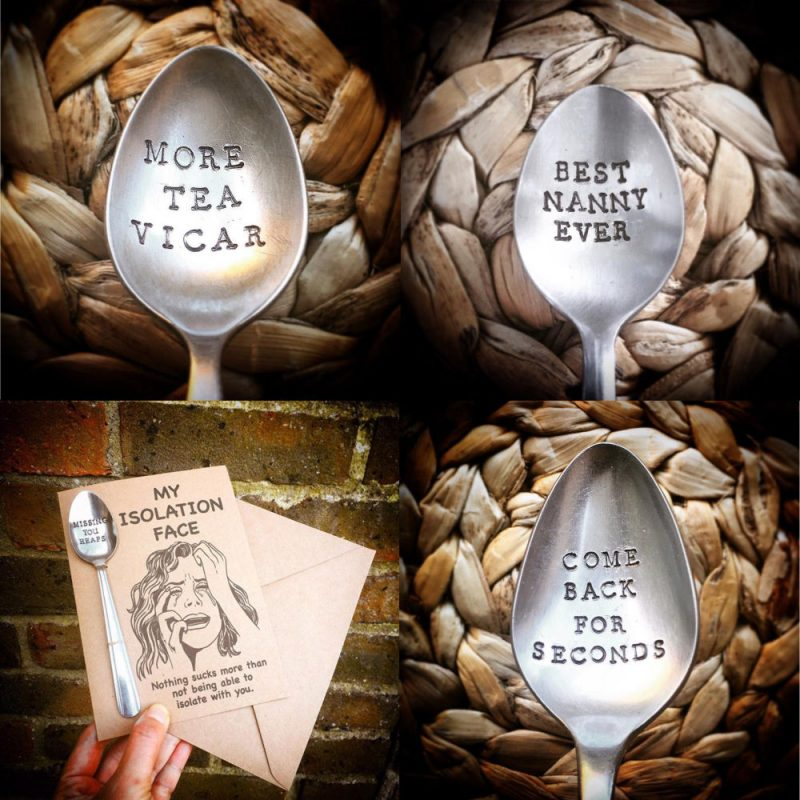 Handstamped cutlery with witty phrases