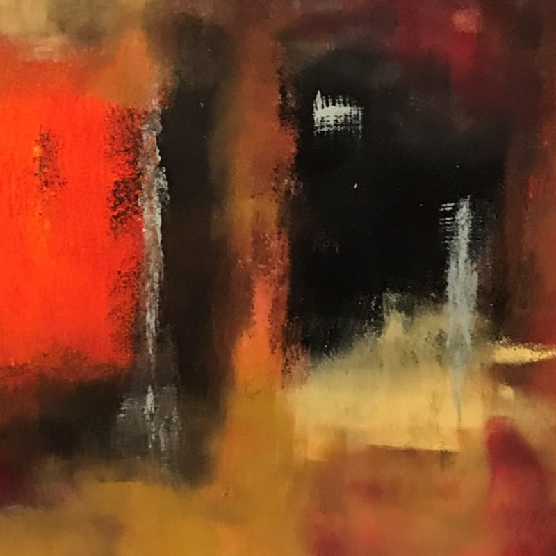 Abstract and surreal work featuring reds, ocres and blacks