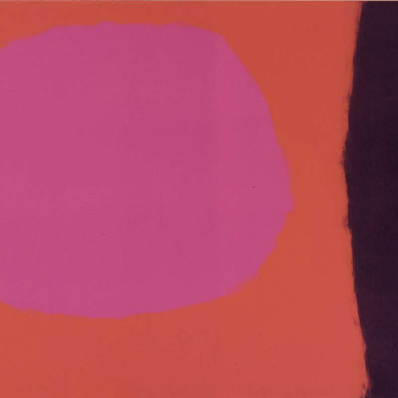 Graphic abstract composition with a pink circle on a reddish orange ground with an aubergine verticle stripe