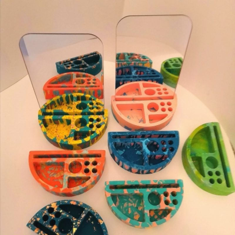 colourful jesmonite desk/dressing table organisers with laser cut mirror back boards.
