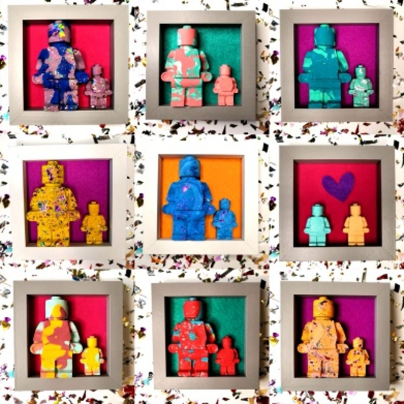 quirky jesmonite lego men figures displayed in box frames