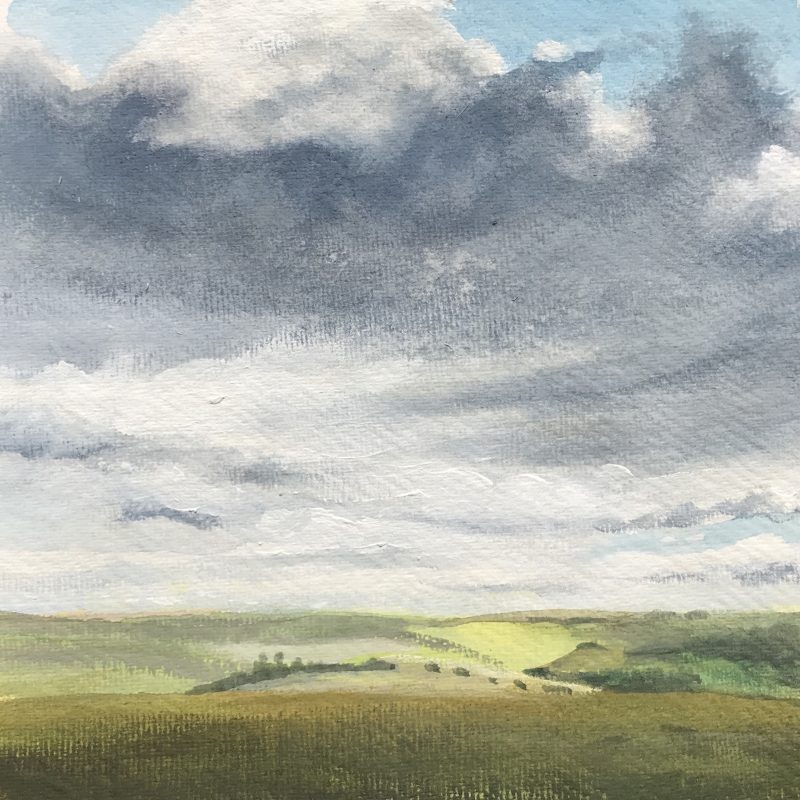 Painting of view from Saddlescombe