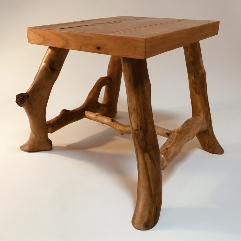 Handmade beech wood table with branchwood legs