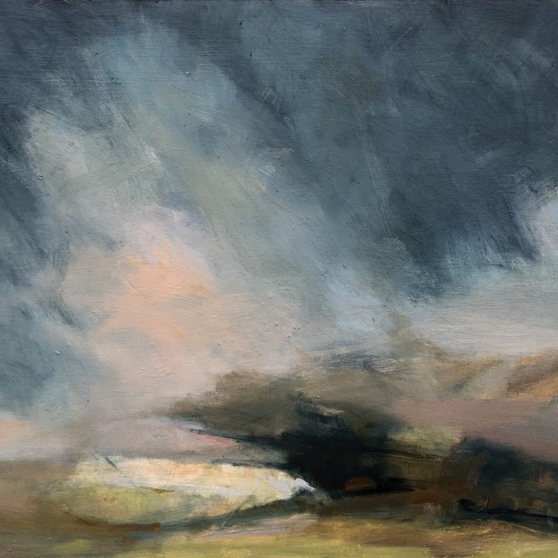 Atmospheric landscape in oil of Saddlescombe with chalk hillside