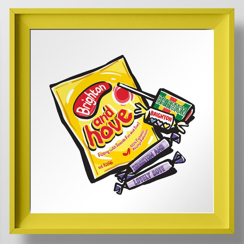 Colourful graphic image of sweets cleverly adapted for Brighton and Hove