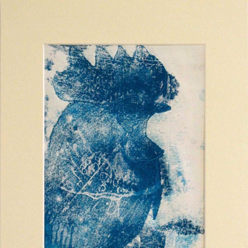 monoprint in prussian blue