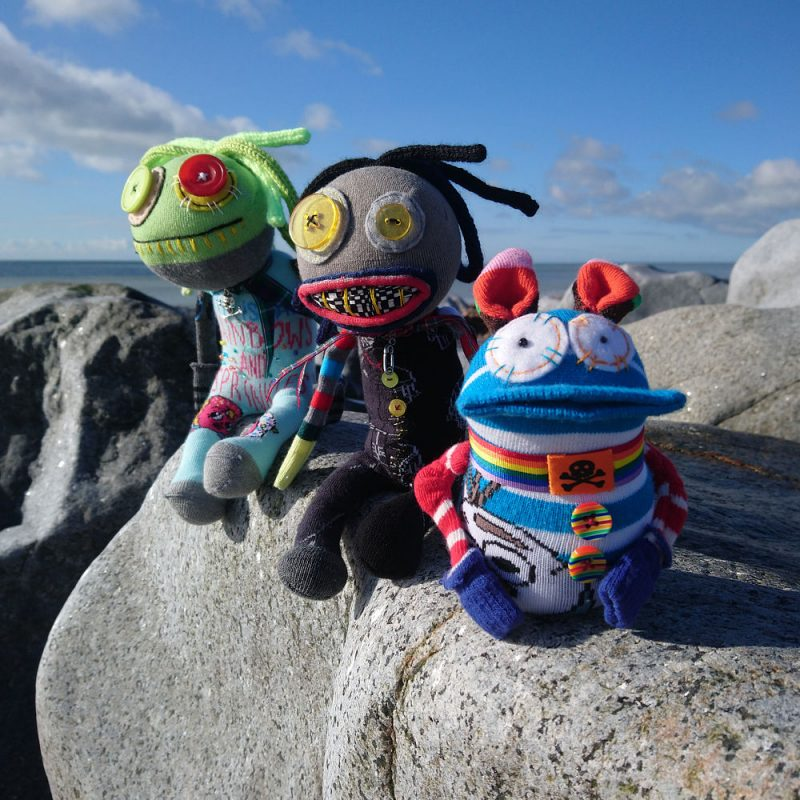 Quirky characterful sock creatures