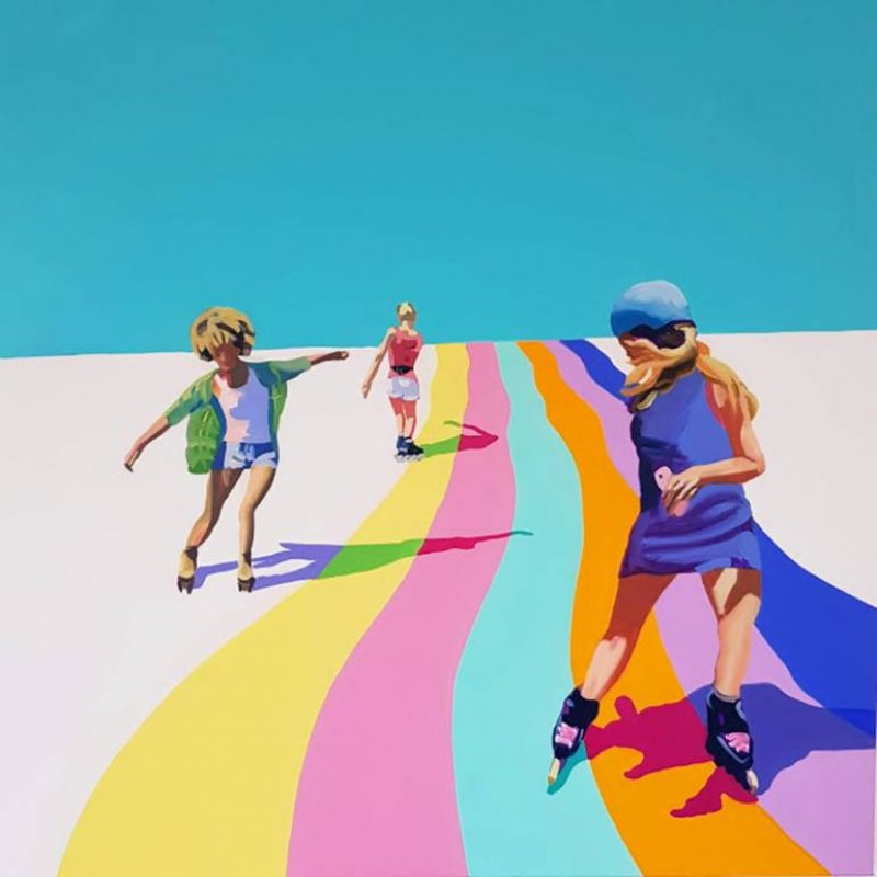 Painting of Skaters on the Rainbow mural