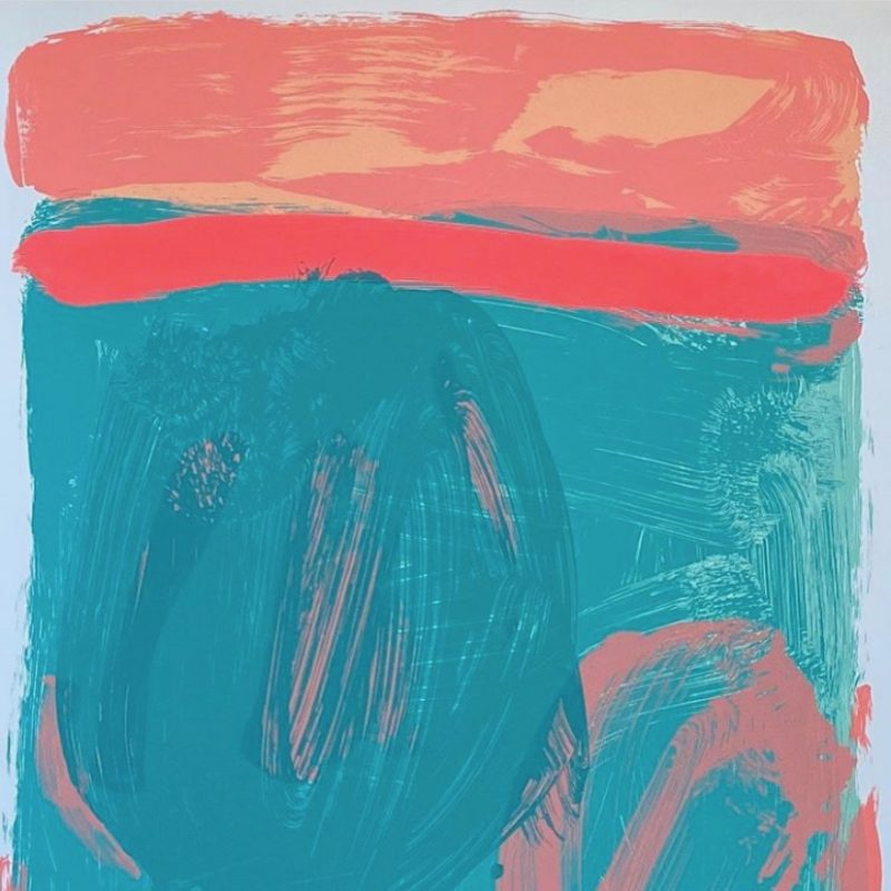 abstract silkscreen image in turquoises and corals